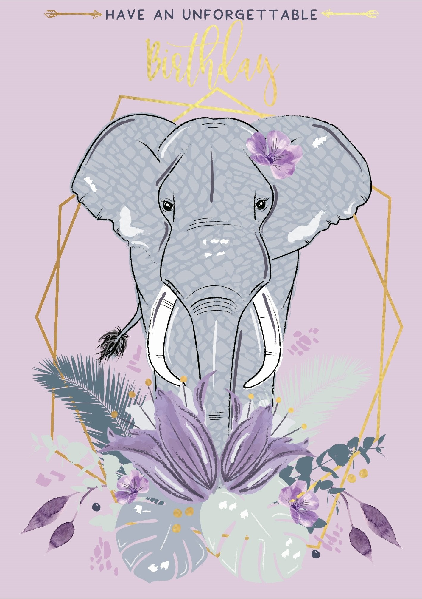 The Handcrafted Card Company Unforgettable Elephant Birthday Card