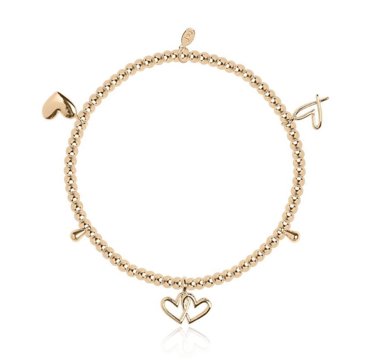 Joma Jewellery Amulet Gold Multi Hearts Bracelet