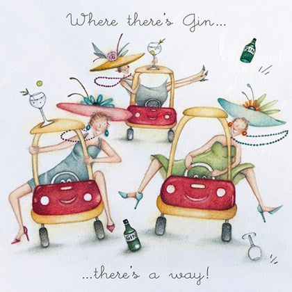 Berni Parker Blank Card - Where there's Gin