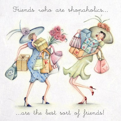 Berni Parker Blank Card -Friends who are Shopaholics