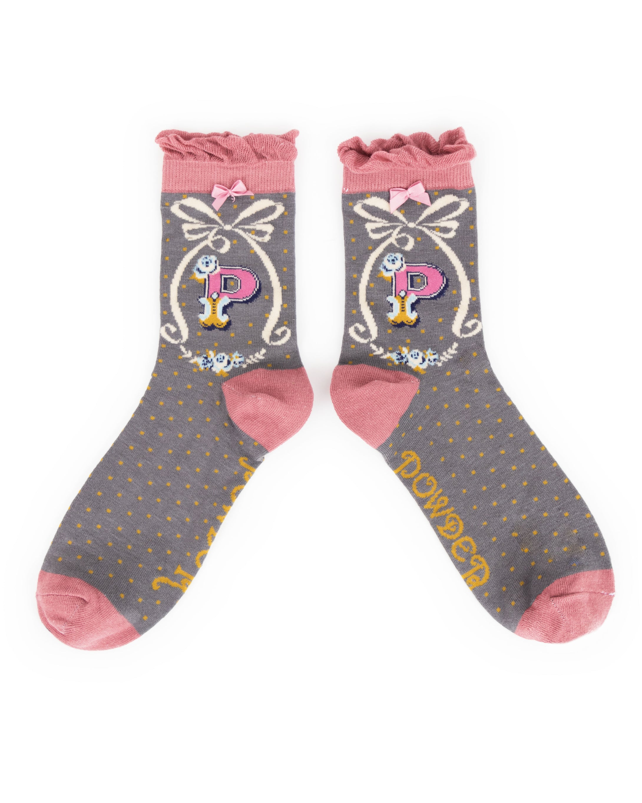 Powder Alphabet Socks - Letter P