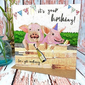 Flying Teaspoons Let's Get Messy Pigs Birthday Card