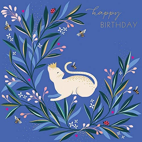 Sara Miller by The Art File - White Cat & Bee Birthday Card