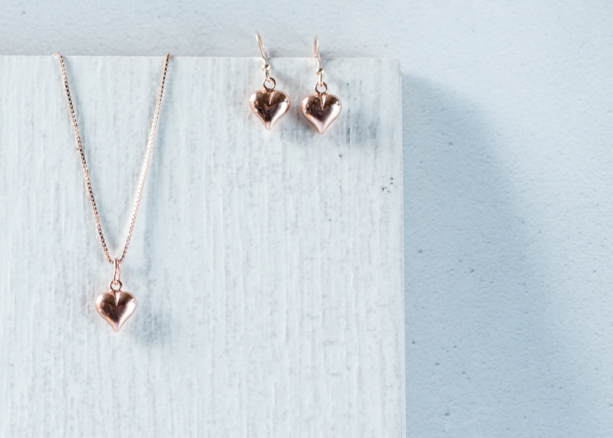 Jolu Jewellery Rose Gold Puff Heart Earrings