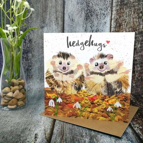 Flying Teaspoon Hedgehugs Blank Card