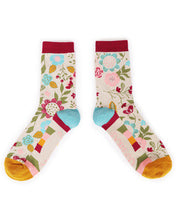 Powder Scandi Floral Bamboo Ankle Socks - Cream