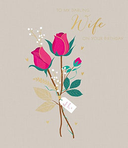 Sara Miller by The Art File - Darling Wife Large Birthday Card