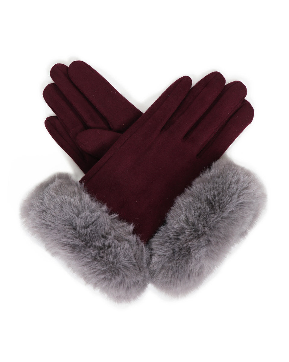 Powder Bettina Faux Suede Gloves In Damson/ Slate