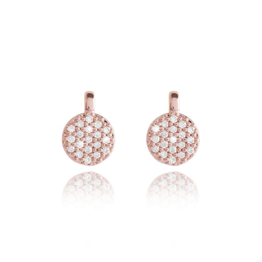 Joma Jewellery Priya Pave Disc Earrings - Rose Gold