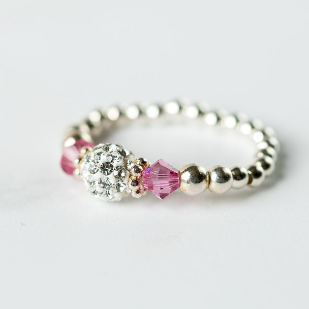 Rose (October Birthstone) Silver Stretch Ring