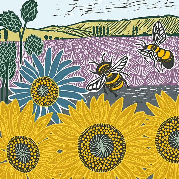 The Art File -Sunflowers & Bees - Nature Trail Collection by Kate Heiss Blank Card