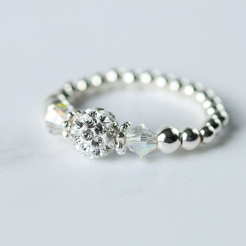 Crystal AB (April Birthstone) Silver Stretch Ring
