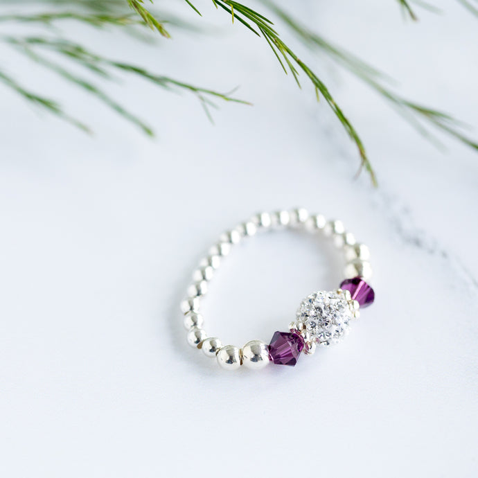 Amethyst (February Birthstone) Silver Stretch Ring