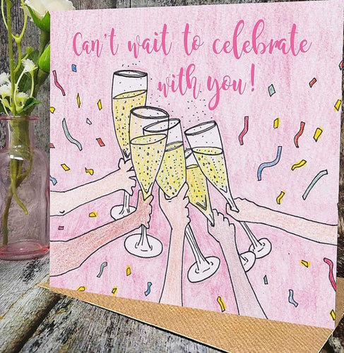 Flying Teaspoon Can't Wait to Celebrate With You Blank Card