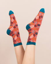 Powder Leaf Bamboo Ankle Socks - Tangerine