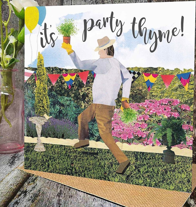 Flying Teaspoon It's Party Thyme Blank Card