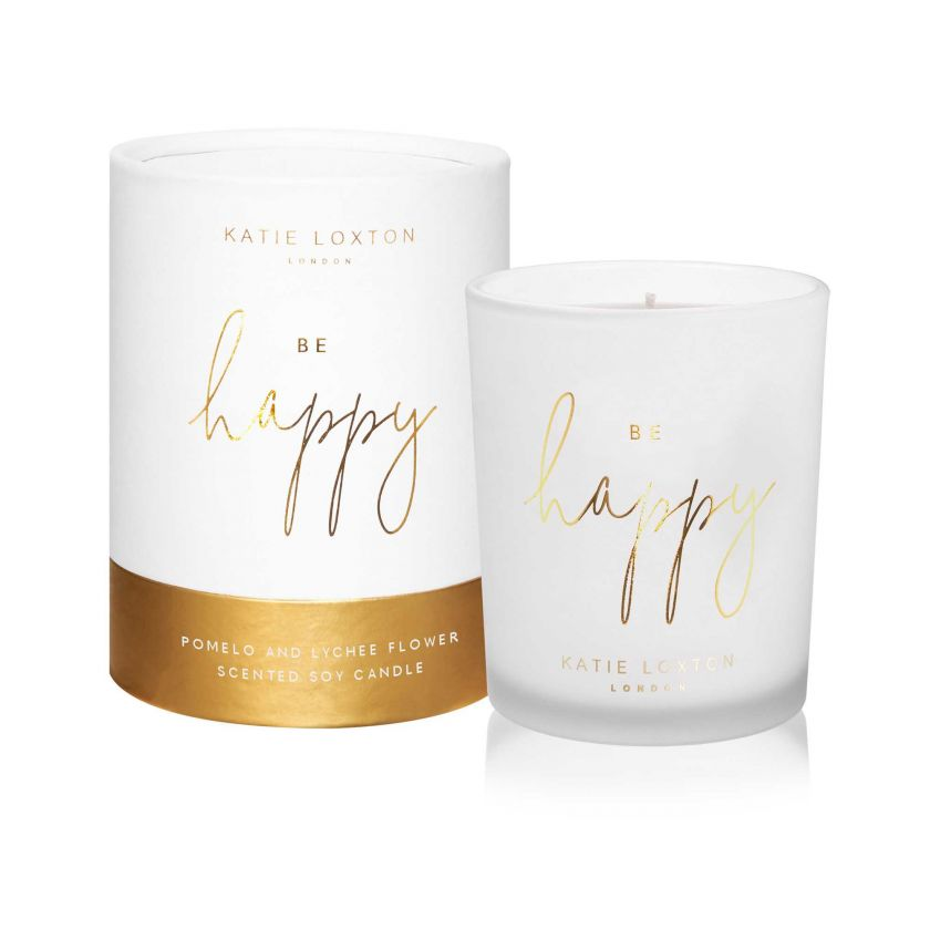Katie Loxton Be Happy Sentiment Candle - Pomelo & Lychee Flower