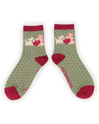 Powder Puppy Love Bamboo Ankle Socks - Moss Green