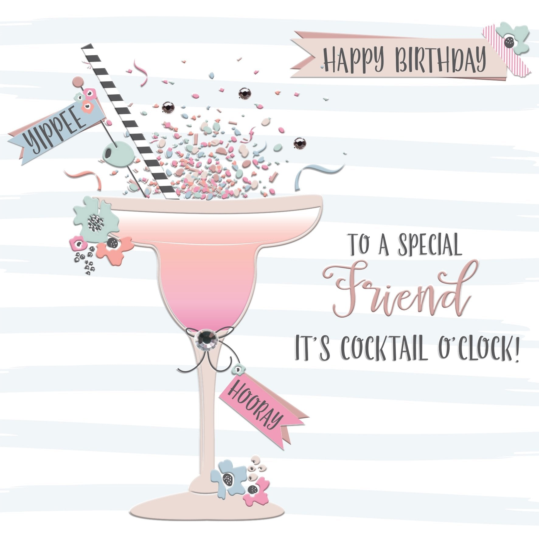 Special Friend It's Cocktail O'Clock Birthday Card