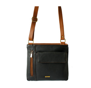 Nova Leathers Zip & Pocket Crossbody Handbag - Navy/Chestnut (899S)