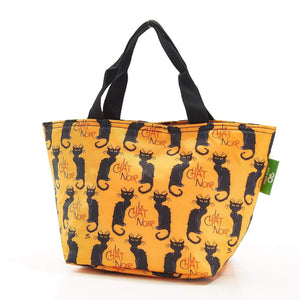 Eco Chic Lightweight Foldable Lunch Bags - Le Chat Noir Cats - Mustard
