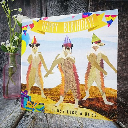 Flying Teaspoon Meerkat Floss Like a Boss Birthday Card