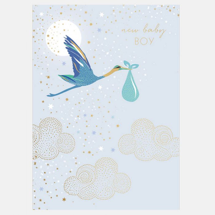 Sara Miller by The Art File - New Baby Boy Stork Card
