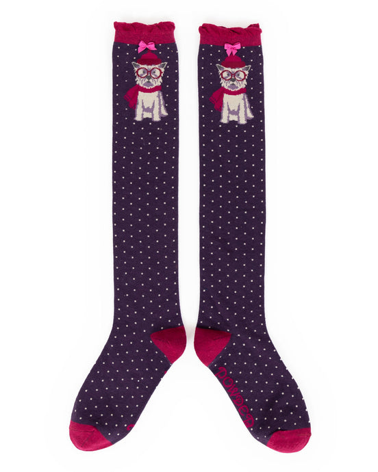 Powder Winter Westie Knee High Socks - Purple