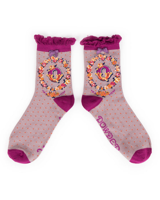 Powder Alphabet Socks - Letter Q