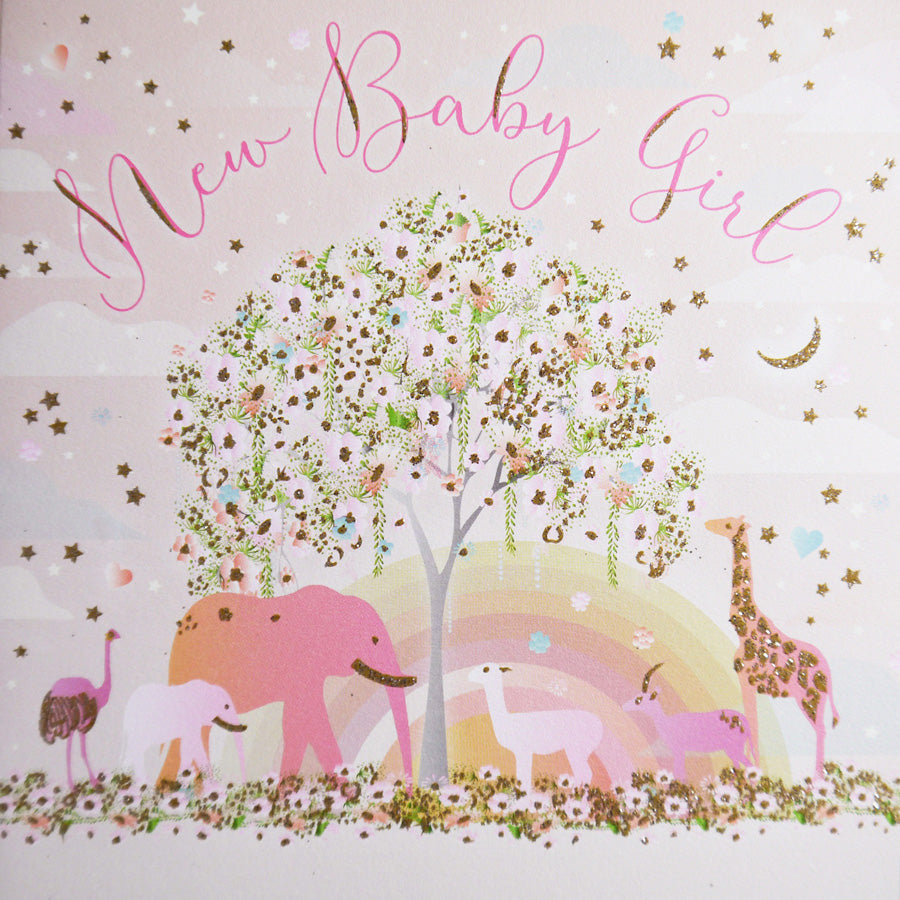 Five Dollar Shake Animals New Baby Girl Card