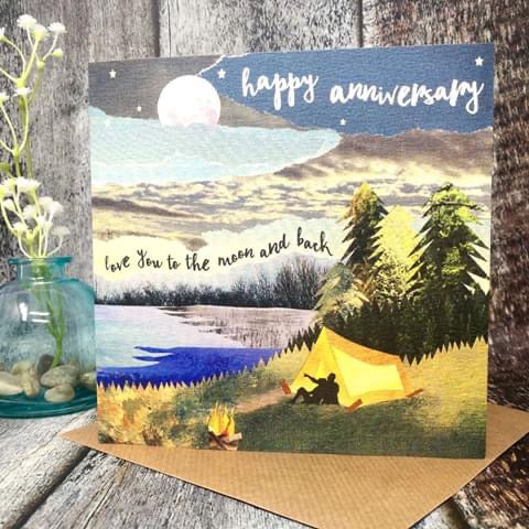 Flying Teaspoon Anniversary Love you to the Moon & Back Card