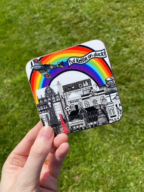 Megan Rose Design Put Kettle on Duck Stokie Rainbow Coaster