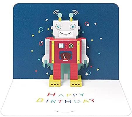 The Art File Form 3D Pop Up Card - Robot Happy Birthday