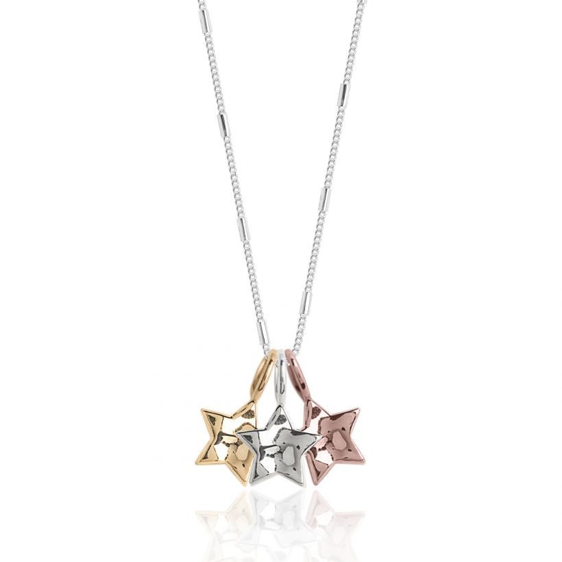 Joma Jewellery Florence Hammered 3 Star Necklace