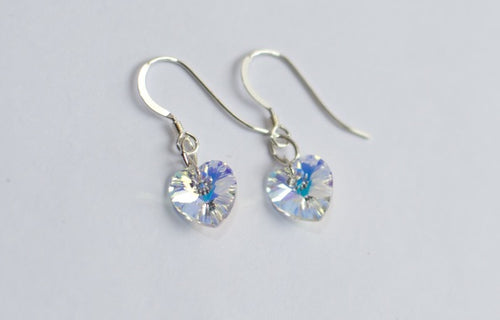 Jolu Jewellery Swarovski Crystal Heart Earrings - Crystal AB