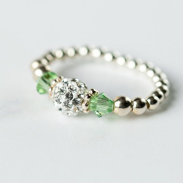 Peridot (August Birthstone) Silver Stretch Ring