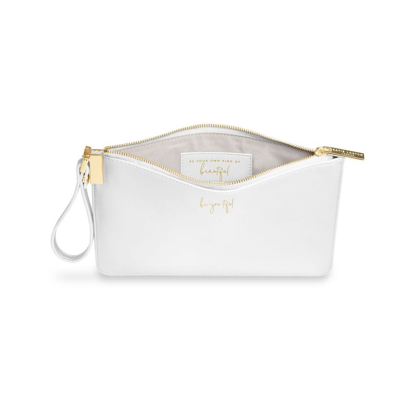 Katie Loxton Secret Message Pouch - Be-you-tiful  - White