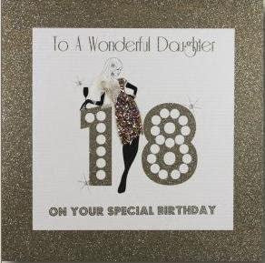 Five Dollar Shake LARGE Daughter 18th Birthday Girl Card - Gold Glitter