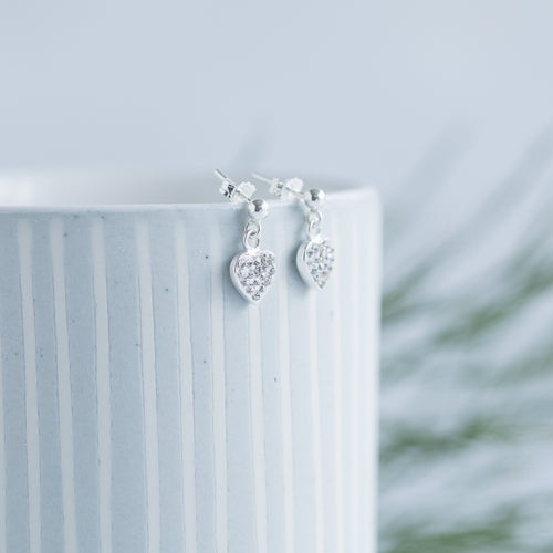 Jolu Jewellery Hollie Pave Heart Earrings