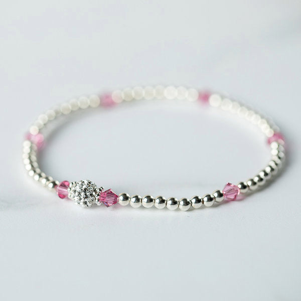 Rose (October Birthstone) Silver Bracelet