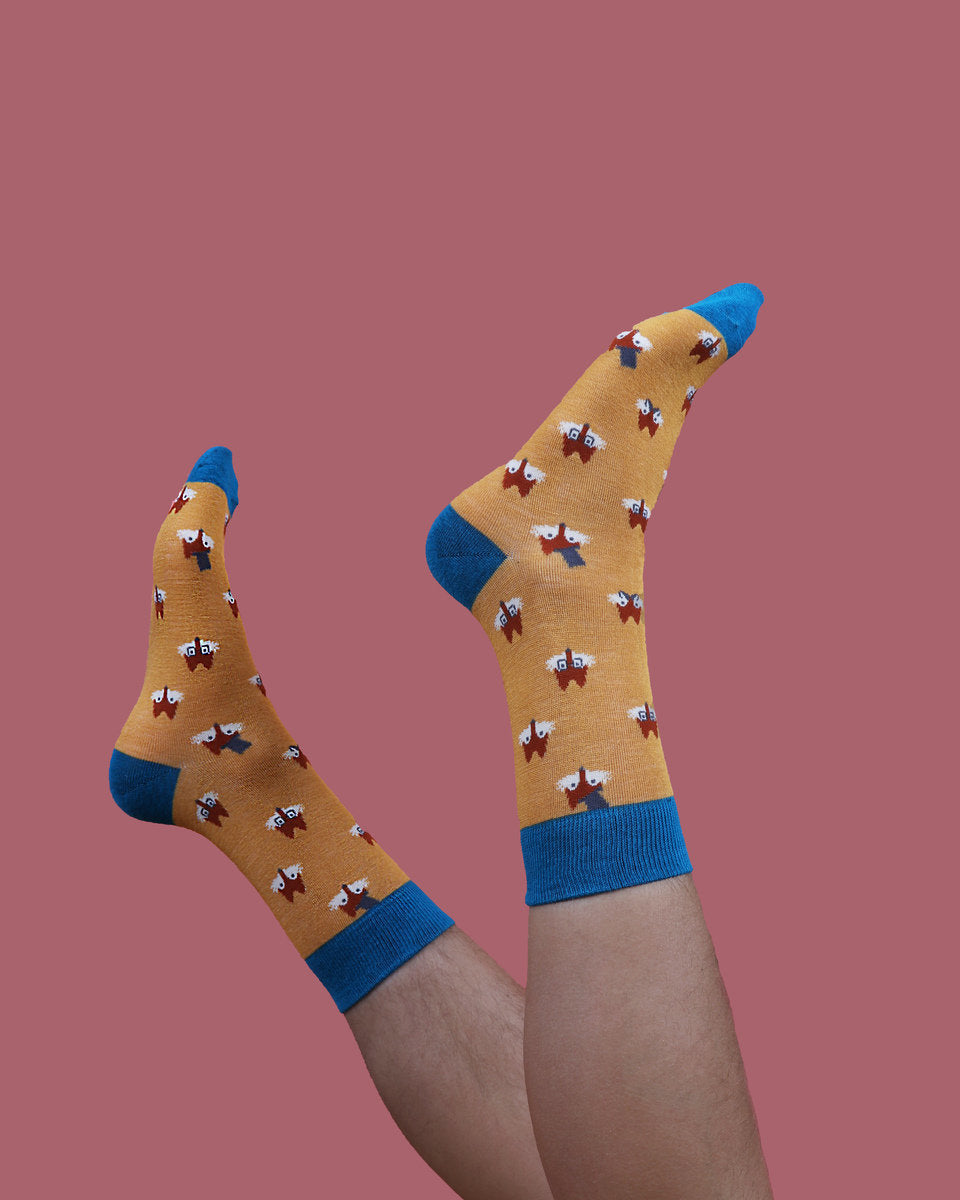 Powder MENS Fox Faces Bamboo Ankle Socks - Mustard