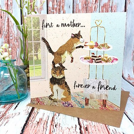 Flying Teaspoon First a Mother Forever a Friend Card