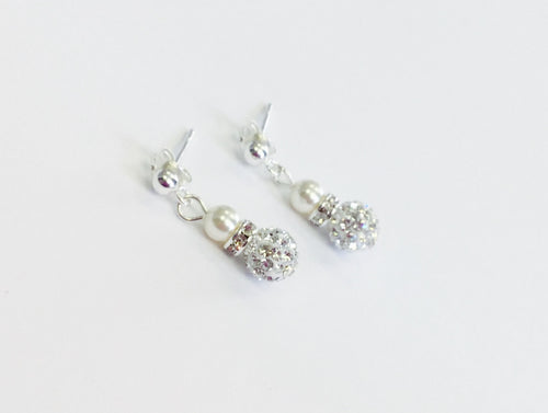 Jolu Jewellery Amelia Tiny Drop Earrings Pearl