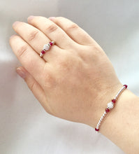 Ruby Teen Size (July Birthstone) Silver Stretch Ring