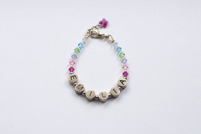 Personalised Name Bracelet - Swarovski Crystals Multi Coloured Mix