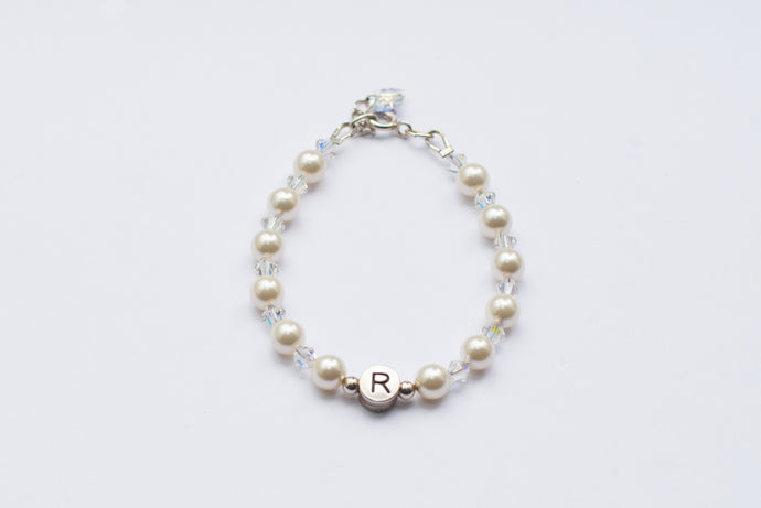 Personalised Name Bracelet - Ivory Swarovski Pearls & Crystals