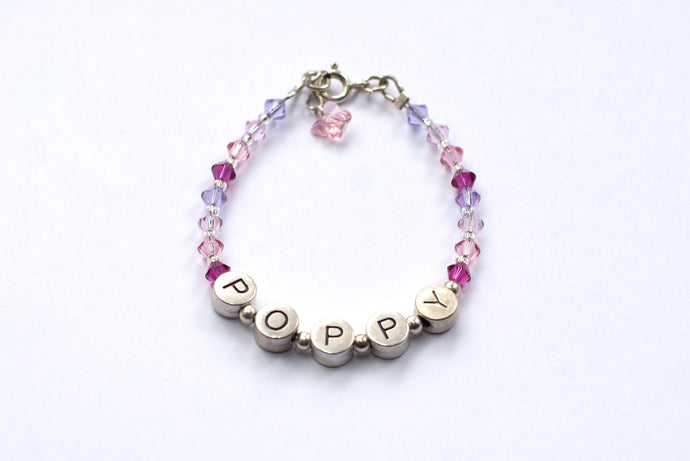 Personalised Name Bracelet - Swarovski Crystals Pink Mix