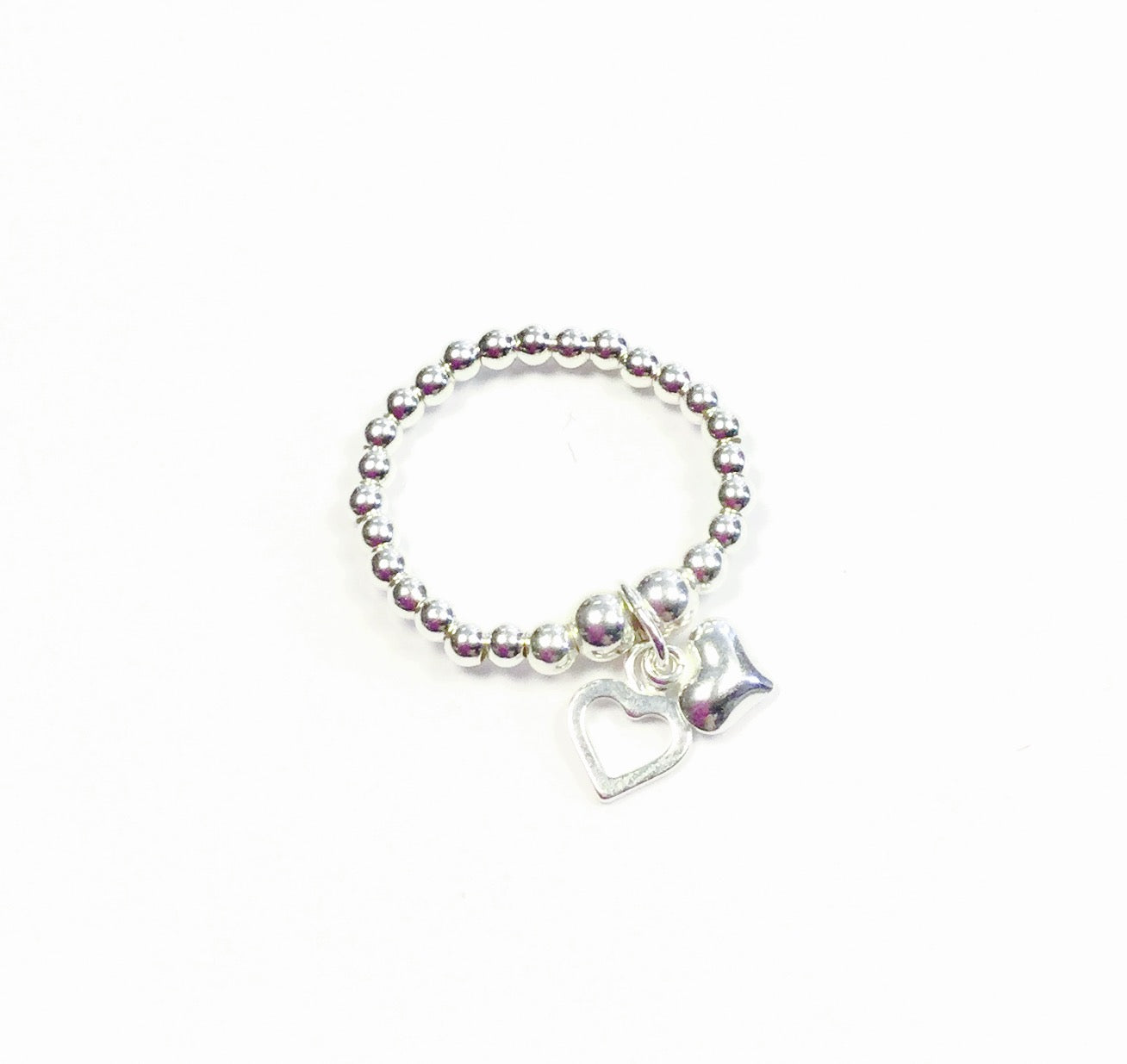 Jolu Jewellery Bella 2 Hearts Charm Sterling Silver Stretch Ring