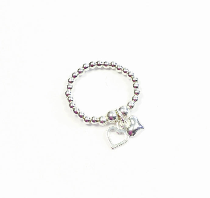 Chloe 2 Hearts Charm Sterling Silver Stretch Ring