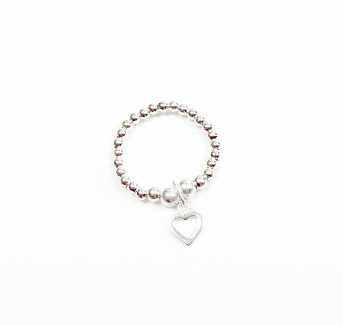Chloe Teeny Open Heart Charm Sterling Silver Stretch Ring